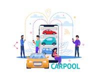 Carpoolapp de Mobiele Illustratie van Zoeken Vlakke Mensen royalty-vrije illustratie