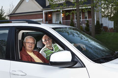 Carpooling. Two men carpooling from home royalty free stock image