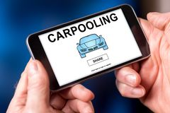 Carpooling concept on a smartphone stock images