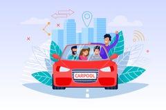 Carpoolserviceillustration Helgresa stock illustrationer