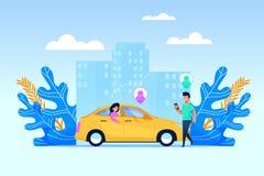 Carpoolvervoersdienst Vlak mensenkarakter vector illustratie