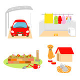 Carport, μπαλκόνι, κήπος, σπίτι κατοικίδιων ζώων διανυσματική απεικόνιση