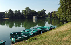 Carps pond in the garden of Fontainebleau castle Royalty Free Stock Photography