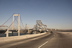 Carquinez Bridge. This is a picture driving over the Carquinez Bridge over the San Francisco Bay royalty free stock image