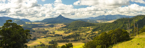 Carr's Lookout in the Scenic Rim, Queensland. Carr's Lookout overlooking the mountains and fields in the Scenic Rim, Queensland during the day Royalty Free Stock Images