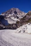 Marble quarry in Carrara, Tuscany region, Italy. Carrara hosts some of the oldest marble quarries in Europe, used since Romans age royalty free stock photos