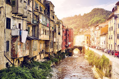 Carrara Italy. Creek and old poor houses Royalty Free Stock Image