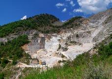 CARRARA, ITALY - May 20, 2018: The marble quarries in the Apuan Alps near Carrara, Massa Carrara region of Italy. CARRARA, ITALY - May 20, 2108: The marble royalty free stock image
