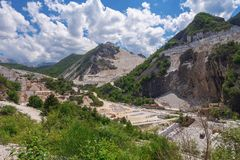 CARRARA, ITALY - May 20, 2018: The marble quarries in the Apuan Alps near Carrara, Massa Carrara region of Italy. stock photography