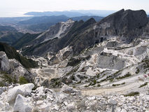 Carrara marble quarries, Italy - view to the sea Royalty Free Stock Images