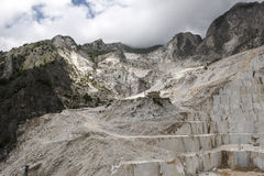 Carrara Marble quarries. Landscape in the Apuan mountains with marble quarry Royalty Free Stock Photography