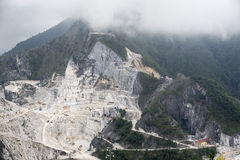 Carrara Marble quarries. Mountain landscape with statutario quality marble quarry. From this site Michelangelo got his marble Royalty Free Stock Images
