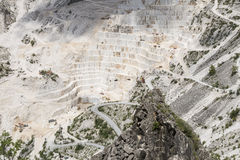 Carrara Marble quarries. Mountain landscape with statutario quality quarry. From this site Michelangelo got his marble Stock Image