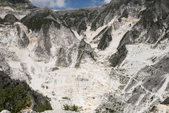 Carrara Marble quarries. Mountain landscape with statutario quality quarry. From this site Michelangelo got his marble Royalty Free Stock Image