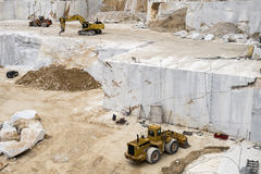 Carrara Marble quarries. Overview of ona of the Carrara Marble quarries with digging machines Stock Photography