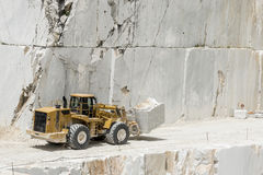 Carrara Marble quarries. Transporter carrying a huge block of marble Stock Photos