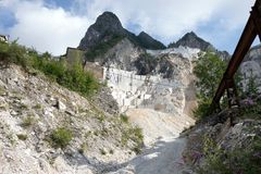 Carrara marble quarries. The marble from Carrara was used for some of the most remarkable buildings in Ancient Rome as well as for many sculptures of the stock photography