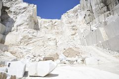 Carrara marble. Quarry on the Apuan Alps, Tuscany, Italy stock photography