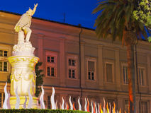 Carrara Marble Weeks. Play of lights around the statue of Garibaldi in the historical center of Carrara, during the event Carrara Marble Weeks, started on 23th Stock Photo