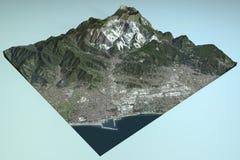Carrare, vue satellite, carte, section, Toscane Italie illustration de vecteur