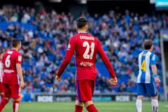 Carrasco plays at the La Liga match between RCD Espanyol and Atletico de Madrid Royalty Free Stock Image