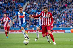 Carrasco plays at the La Liga match between RCD Espanyol and Atletico de Madrid Royalty Free Stock Photo