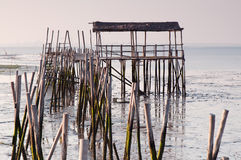 Carrasqueira in Portugal. Port made of wood, piers and cabins Stock Photos