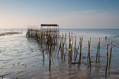 Carrasqueira, Portugal. Port made of wood, piers and cabins Stock Image