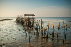 Carrasqueira, Portugal. Port made of wood, piers and cabins Royalty Free Stock Photography