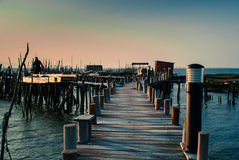 Carrasqueira quay at sunset Royalty Free Stock Photo