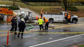 Carrboro, NC, US- November 5, 2018: Firemen and Water Authority stock photos