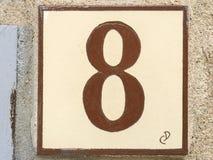 Carreau de céramique avec le numéro huit 8 Photo libre de droits
