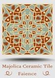 Carreau de céramique d'Azulejo en vert beige et olive et terre cuite de rouge Faïence en céramique de vintage Poterie espagnole t Photos libres de droits