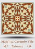 Carreau de céramique en vert beige et olive et terre cuite de rouge Majolique en céramique de vintage Produit traditionnel de pot illustration de vecteur