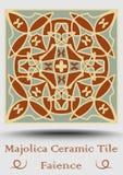 Carreau de céramique de faïence en vert beige et olive et terre cuite de rouge Majolique en céramique de vintage Produit espagnol Images libres de droits