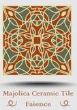 Carreau de céramique de majolique en vert beige et olive et terre cuite de rouge Faïence de potttery de vintage Produit tradition illustration de vecteur