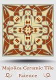Carreau de céramique de majolique Majolique en céramique de vintage Produit traditionnel de poterie de lustre avec l'Espagnol sym illustration libre de droits