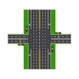carrefour À l'aide des feux de signalisation Échange de route pelouses Vue de ci-avant Illustration Photo stock