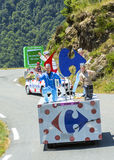 Carrefour Caravan in Pyrenees Mountains - Tour de France 2015 Royalty Free Stock Photography