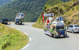Carrefour Caravan in Pyrenees Mountains - Tour de France 2015 Royalty Free Stock Image