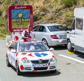 Carrefour Caravan in Pyrenees Mountains - Tour de France 2015 Royalty Free Stock Images