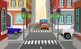Carrefour de ville de bande dessinée de vecteur avec des feux de signalisation illustration de vecteur