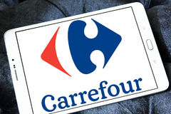 Carrefour logo. Logo of the international chain of convenience stores  carrefour on samsung tablet Royalty Free Stock Image