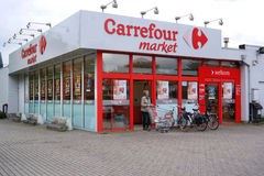 Carrefour market in Belgium. KALMTHOUT, BELGIUM - OCTOBER 2015: Branch of a Carrefour supermarket. Carrefour is a French multinational retailer Stock Image