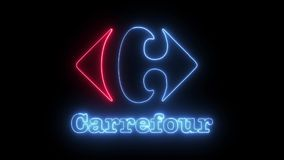 Carrefour Neon Lights royalty free illustration