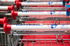 Carrefour shopping carts Royalty Free Stock Photography