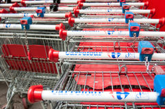 Carrefour shopping carts Stock Photo
