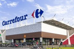 A Carrefour shopping mall main entrance in Italy. MaSSA, ITALY - JULY 26, 2018 - The main entrance to a Carrefour mall in Italy Stock Images
