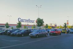 Carrefour store parking full,bucharest romania Stock Photography