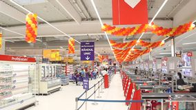 Carrefour supermarket checkout Stock Photo